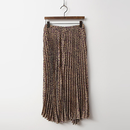 Leopard Pleats Long Skirt