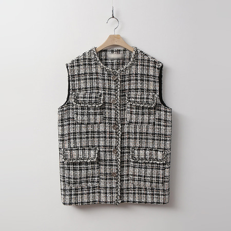 Black Tweed Wool Vest