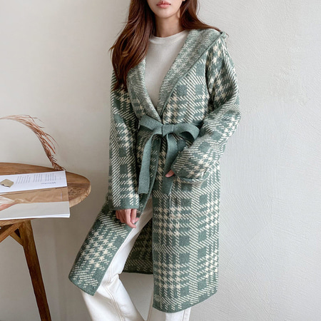 Tartan Check Hooded Long Cardigan