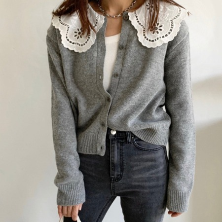 Lace Collar Wool Cardigan