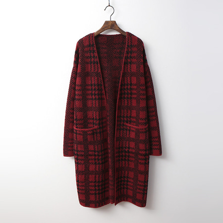 Tartan Check Long Cardigan